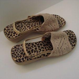 Avon Tan Mesh Wedge Sandals size 6